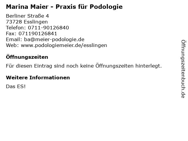 Praxis für Podologie Marina Maier in Esslingen: Adresse und Öffnungszeiten