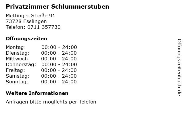 Privatzimmer Schlummerstuben in Esslingen: Adresse und Öffnungszeiten