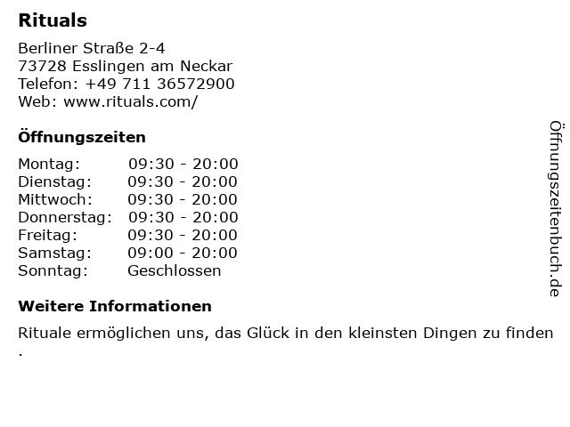 RITUALS Home & Body Cosmetics in Esslingen: Adresse und Öffnungszeiten