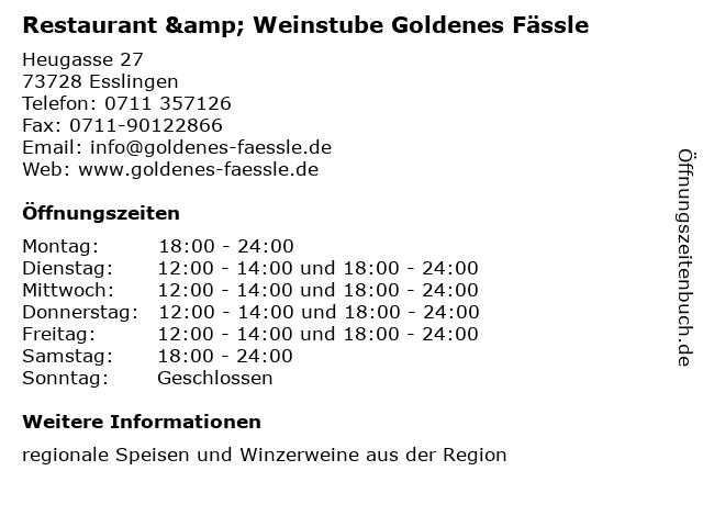 Restaurant & Weinstube Goldenes Fässle in Esslingen: Adresse und Öffnungszeiten