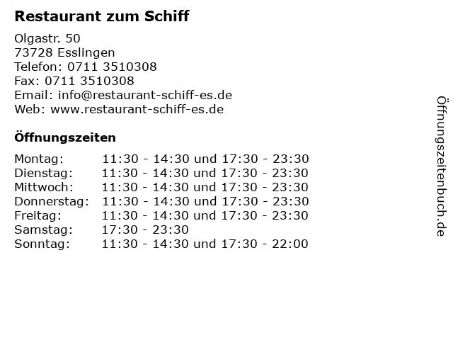 Restaurant zum Schiff in Esslingen: Adresse und Öffnungszeiten
