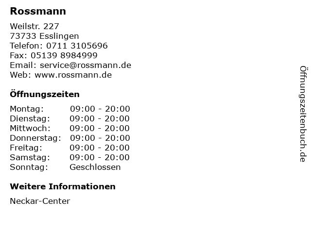 Rossmann in Esslingen: Adresse und Öffnungszeiten