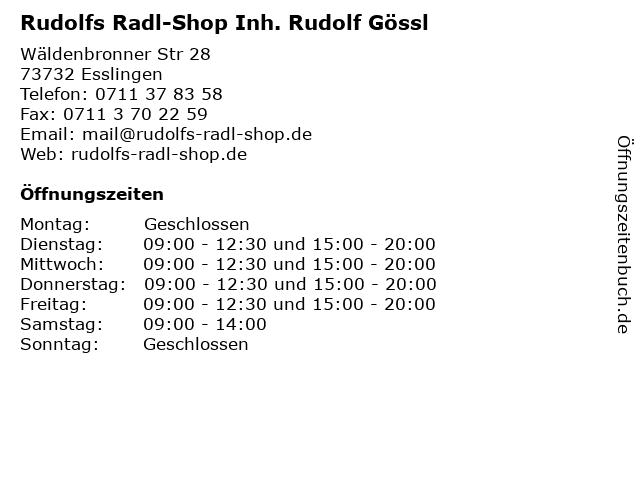 Rudolfs Radl-Shop Inh. Rudolf Gössl in Esslingen: Adresse und Öffnungszeiten
