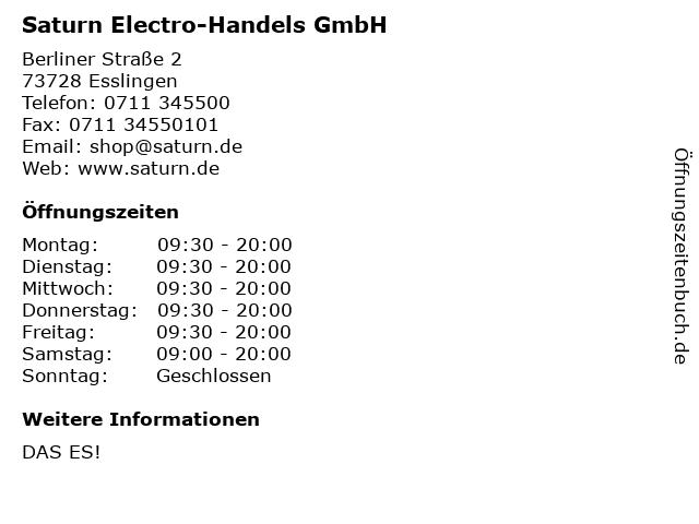Saturn Electro-Handels GmbH in Esslingen: Adresse und Öffnungszeiten