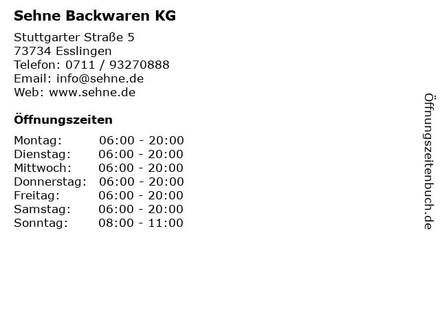 Sehne Backwaren KG in Esslingen: Adresse und Öffnungszeiten