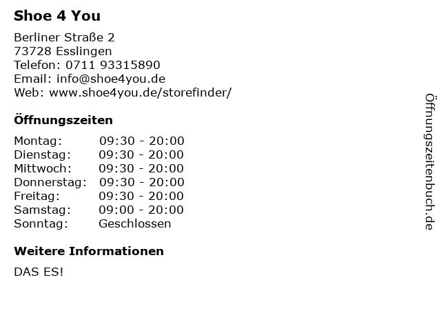 Shoe 4 You in Esslingen: Adresse und Öffnungszeiten