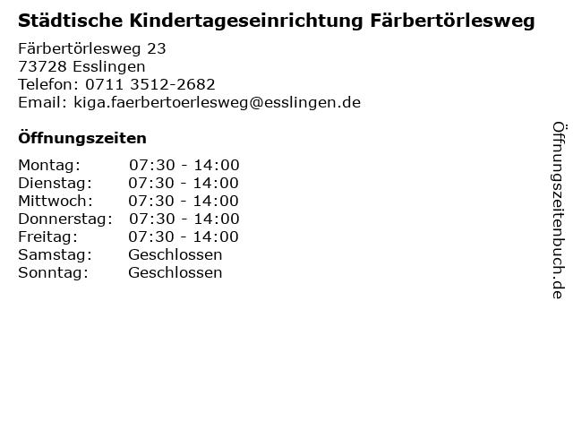 Städtische Kindertageseinrichtung Färbertörlesweg in Esslingen: Adresse und Öffnungszeiten