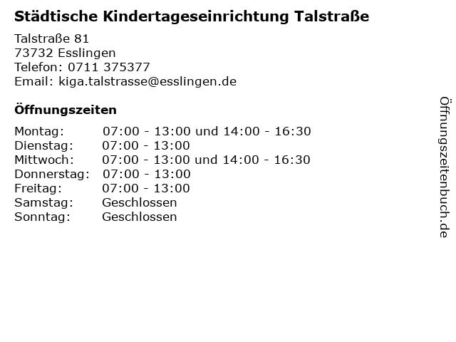 Städtische Kindertageseinrichtung Talstraße in Esslingen: Adresse und Öffnungszeiten