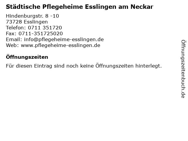 Städtische Pflegeheime Esslingen am Neckar in Esslingen: Adresse und Öffnungszeiten