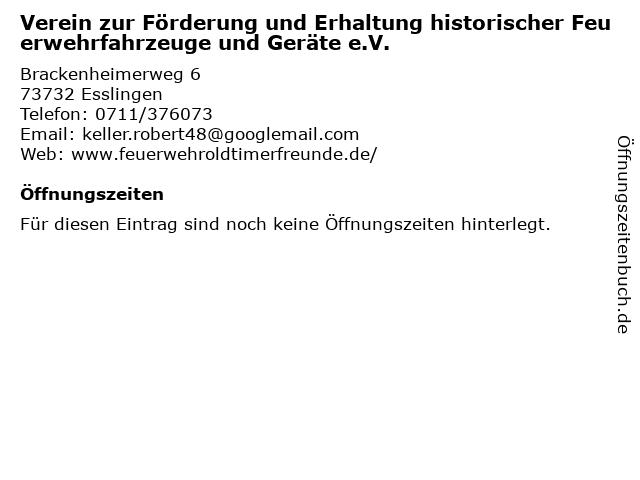 Verein zur Förderung und Erhaltung historischer Feuerwehrfahrzeuge und Geräte e.V. in Esslingen: Adresse und Öffnungszeiten