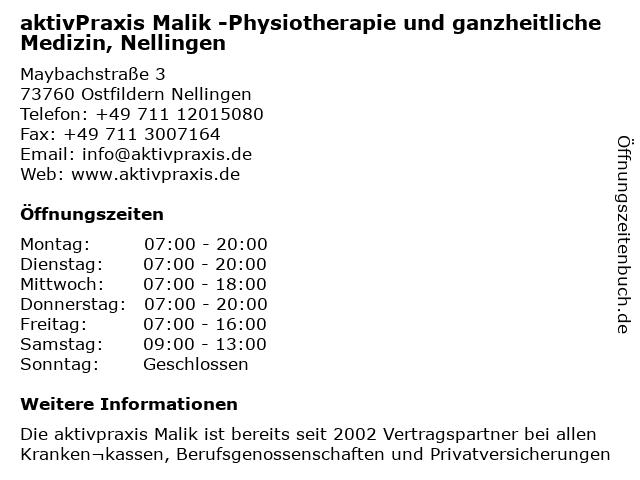 aktivPraxis Malik - Gesundheitssport und Physiotherapie in Esslingen: Adresse und Öffnungszeiten