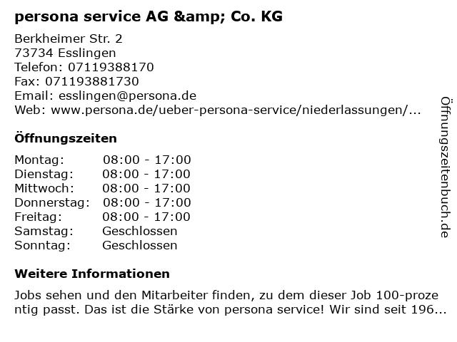 persona service AG & Co. KG in Esslingen: Adresse und Öffnungszeiten