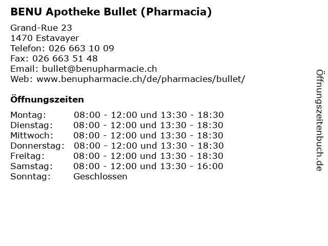 BENU Apotheke Bullet (Pharmacia) in Estavayer: Adresse und Öffnungszeiten