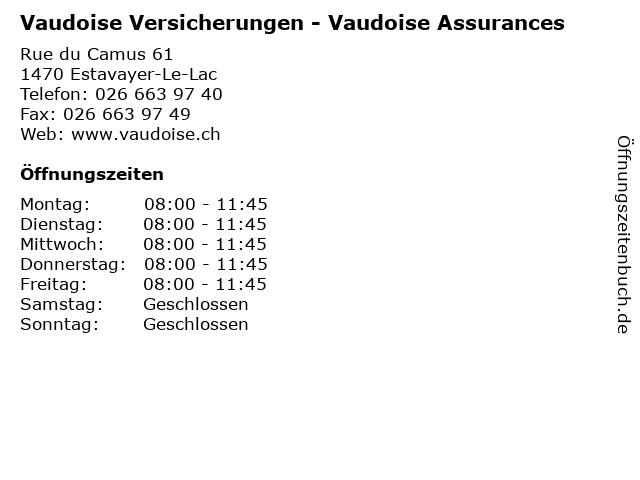 Vaudoise Versicherungen - Vaudoise Assurances in Estavayer-Le-Lac: Adresse und Öffnungszeiten