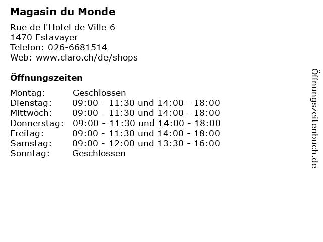 Magasin du Monde in Estavayer: Adresse und Öffnungszeiten