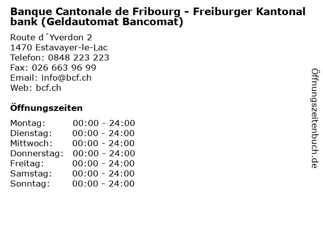 Banque Cantonale de Fribourg - Freiburger Kantonalbank (Geldautomat Bancomat) in Estavayer-le-Lac: Adresse und Öffnungszeiten