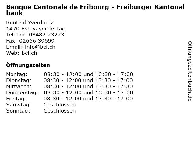 Banque Cantonale de Fribourg - Freiburger Kantonalbank in Estavayer-le-Lac: Adresse und Öffnungszeiten