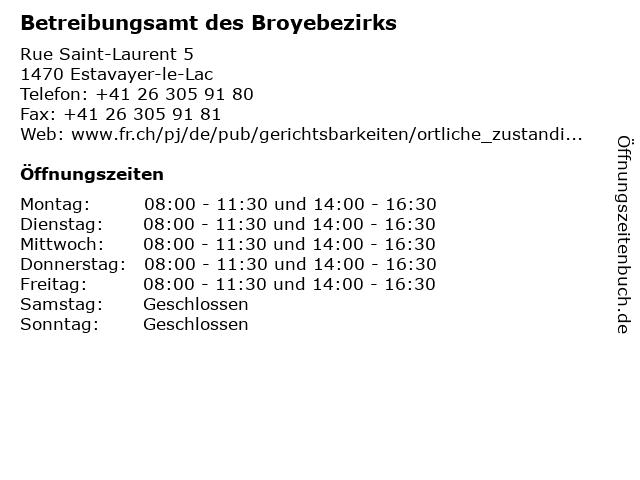 Betreibungsamt des Broyebezirks in Estavayer-le-Lac: Adresse und Öffnungszeiten