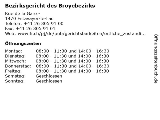 Bezirksgericht des Broyebezirks in Estavayer-le-Lac: Adresse und Öffnungszeiten