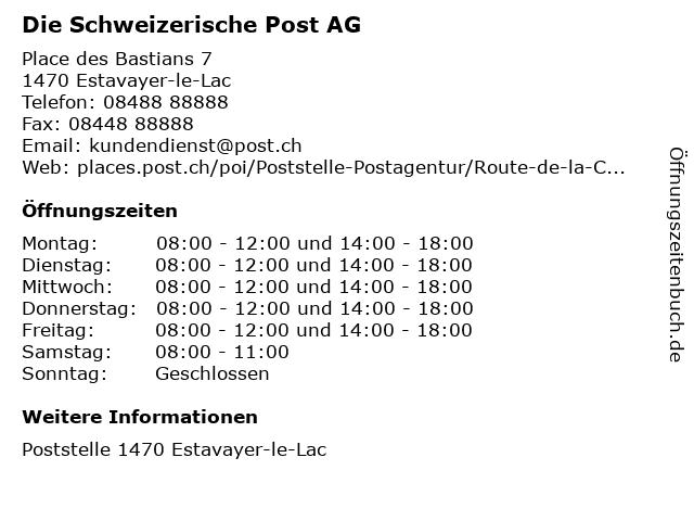 Die Schweizerische Post AG in Estavayer-le-Lac: Adresse und Öffnungszeiten