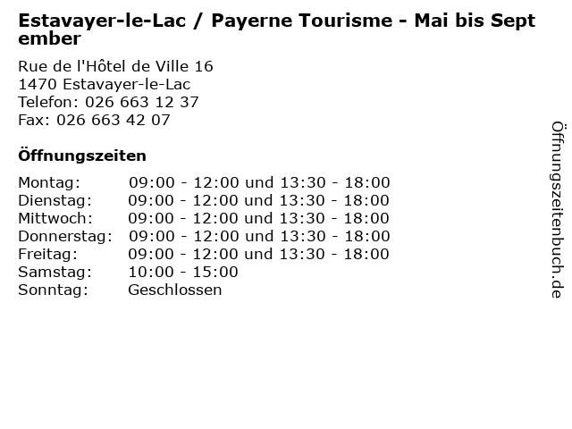 Estavayer-le-Lac / Payerne Tourisme - Mai bis September in Estavayer-le-Lac: Adresse und Öffnungszeiten