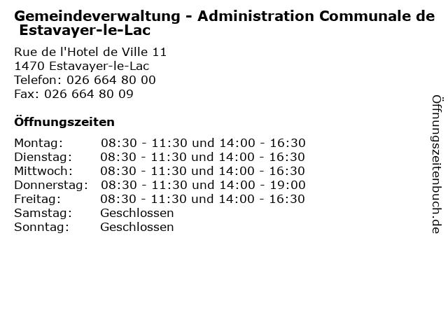 Gemeindeverwaltung - Administration Communale de Estavayer-le-Lac in Estavayer-le-Lac: Adresse und Öffnungszeiten