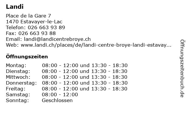 LANDI Estavayer-le-Lac in Estavayer-le-Lac: Adresse und Öffnungszeiten