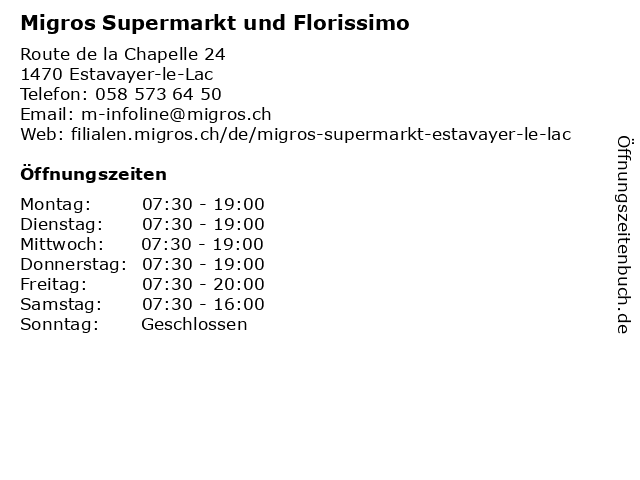 Migros Supermarkt in Estavayer-le-Lac: Adresse und Öffnungszeiten