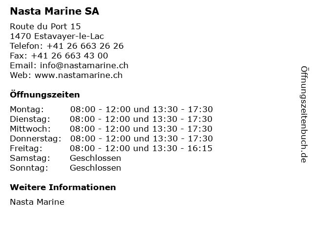 Nasta Marine SA in Estavayer-le-Lac: Adresse und Öffnungszeiten