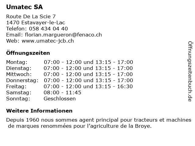 UMATEC, tracteurs et machines agricoles JCB in Estavayer-le-Lac: Adresse und Öffnungszeiten