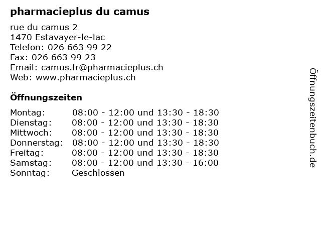 pharmacieplus du camus in Estavayer-le-lac: Adresse und Öffnungszeiten