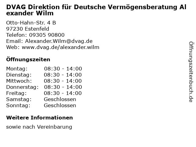 DVAG Direktion für Deutsche Vermögensberatung Alexander Wilm in Estenfeld: Adresse und Öffnungszeiten