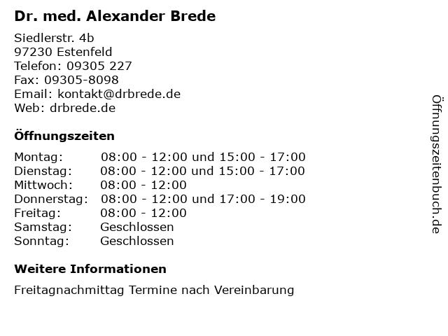 Dr. med. Alexander Brede in Estenfeld: Adresse und Öffnungszeiten