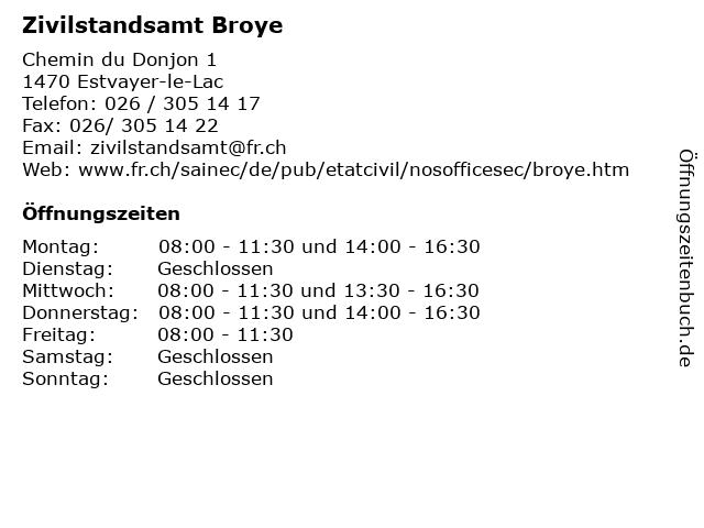 Zivilstandsamt Broye in Estvayer-le-Lac: Adresse und Öffnungszeiten