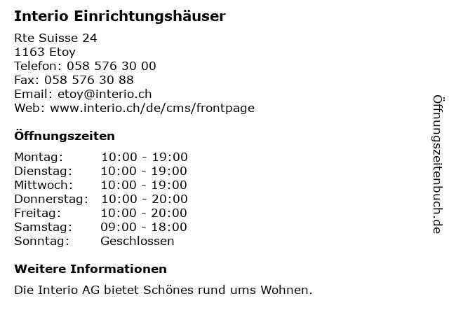 ᐅ öffnungszeiten Interio Einrichtungshäuser Rte Suisse 24 In Etoy