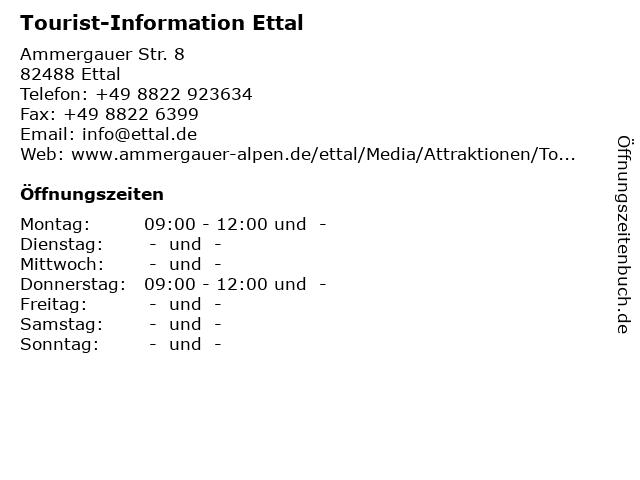 Tourist-Information Ettal in Ettal: Adresse und Öffnungszeiten
