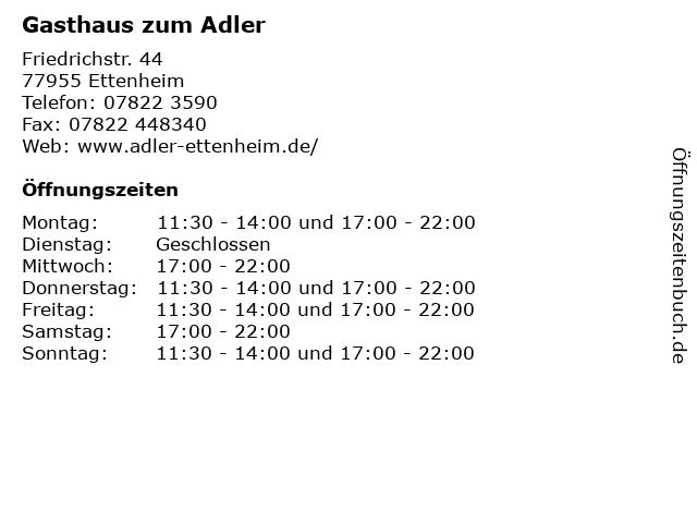 Gasthaus zum Adler in Ettenheim: Adresse und Öffnungszeiten