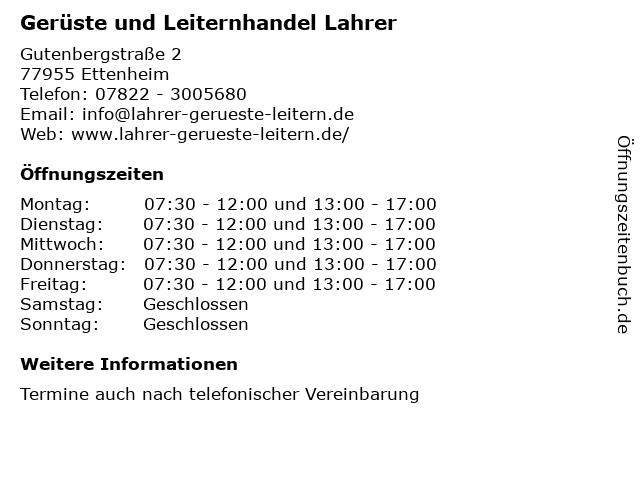 Gerüste und Leiternhandel Lahrer in Ettenheim: Adresse und Öffnungszeiten