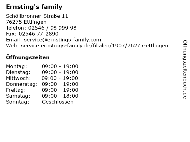 Ernsting's family in Ettlingen: Adresse und Öffnungszeiten