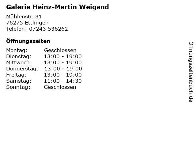Galerie Heinz-Martin Weigand in Ettlingen: Adresse und Öffnungszeiten