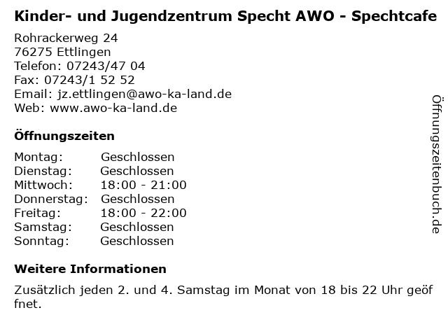 Kinder- und Jugendzentrum Specht AWO - Spechtcafe in Ettlingen: Adresse und Öffnungszeiten