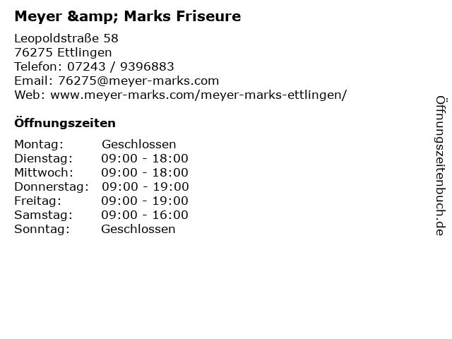 Meyer & Marks Friseure in Ettlingen: Adresse und Öffnungszeiten