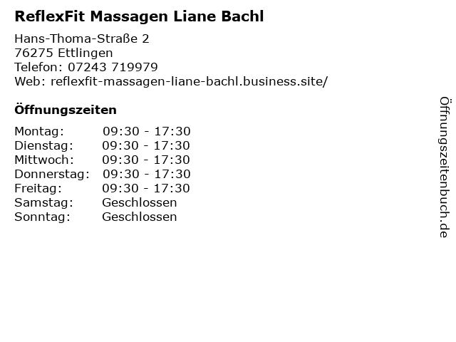 ReflexFit Massagen Liane Bachl in Ettlingen: Adresse und Öffnungszeiten
