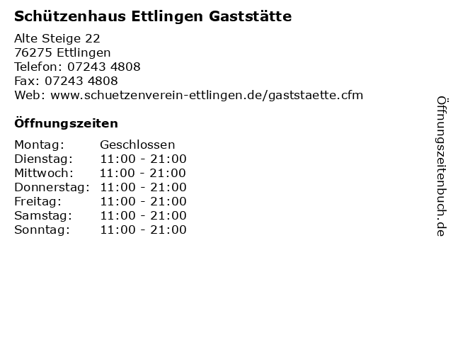Schützenhaus Ettlingen Gaststätte in Ettlingen: Adresse und Öffnungszeiten