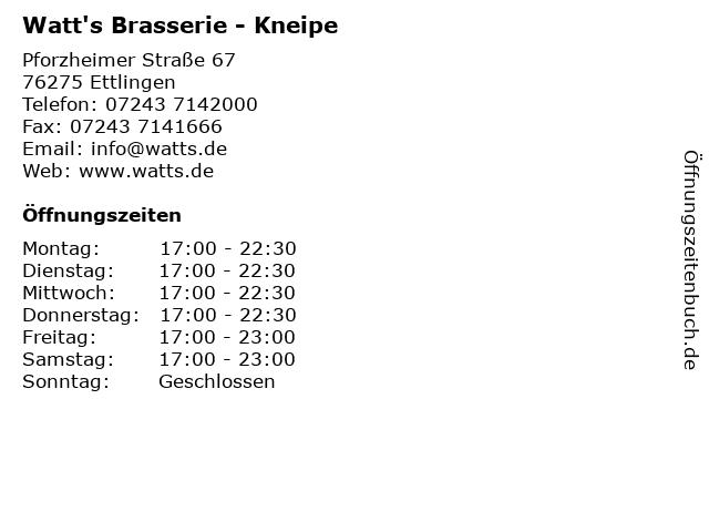 Watt's Brasserie - Kneipe in Ettlingen: Adresse und Öffnungszeiten