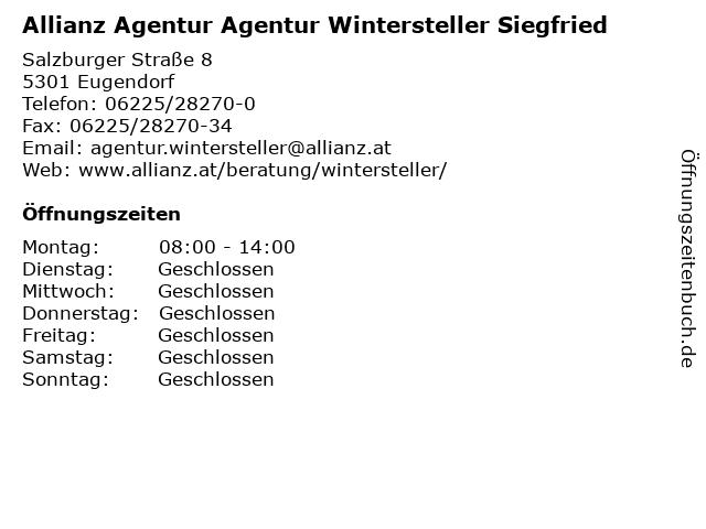 Allianz Agentur Agentur Wintersteller Siegfried in Eugendorf: Adresse und Öffnungszeiten