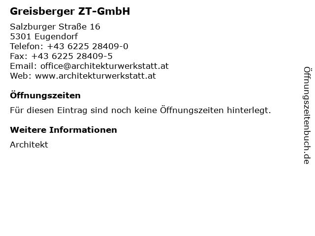 Greisberger ZT-GmbH in Eugendorf: Adresse und Öffnungszeiten