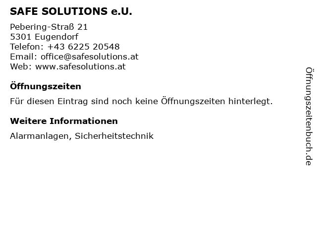 SAFE SOLUTIONS e.U. in Eugendorf: Adresse und Öffnungszeiten