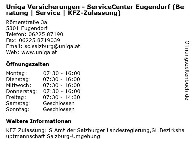 Uniqa Versicherungen - ServiceCenter Eugendorf (Beratung | Service | KFZ-Zulassung) in Eugendorf: Adresse und Öffnungszeiten