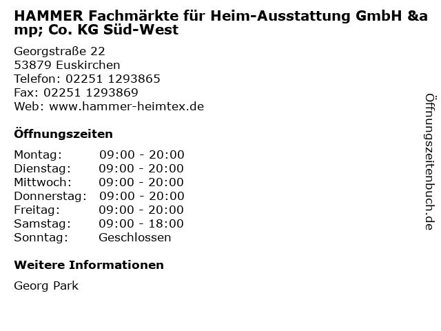 HAMMER Fachmärkte für Heim-Ausstattung GmbH & Co. KG Süd-West in Euskirchen: Adresse und Öffnungszeiten